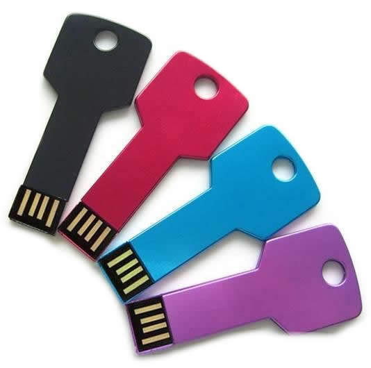 key usb flash drives in black red blue and purple