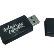 metal block usb flash drive black and open with logo