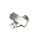 metal swivel usb flash drive silver open